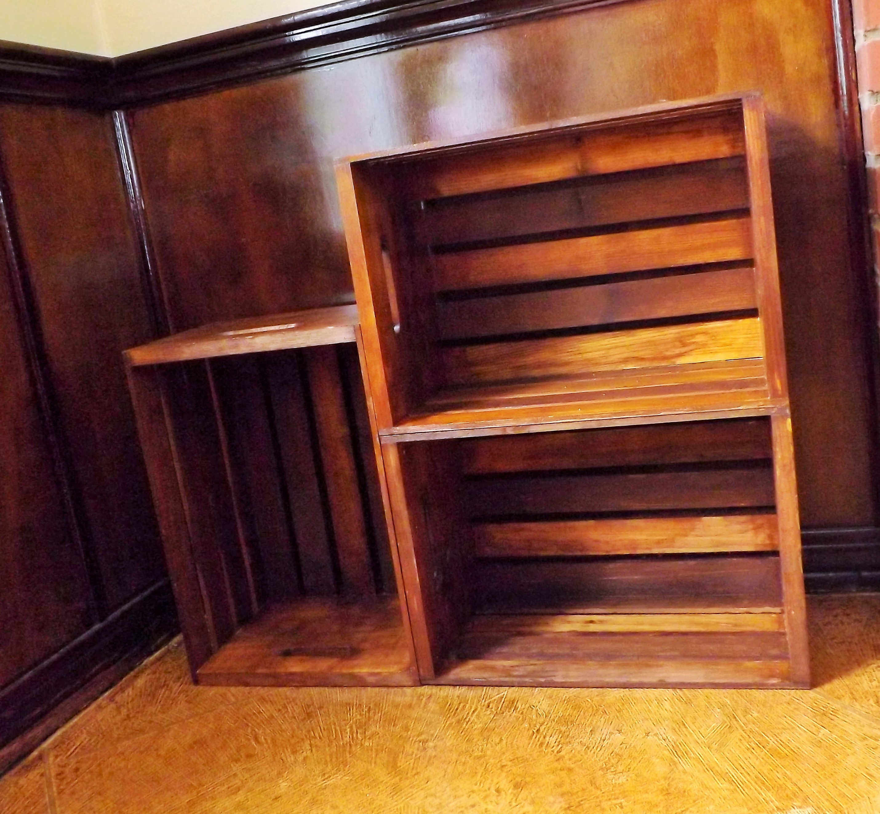wood crate bookcase wonderful creations blog. Black Bedroom Furniture Sets. Home Design Ideas